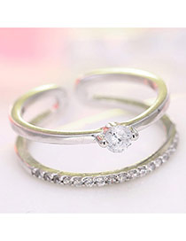 Elegant Silver Color Diamond Decorated Simple Double Layer Opening Ring