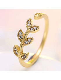 Delicate Gold Color Leaf Shape Design Opening Ring