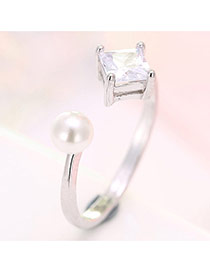 Fashion Silver Color Diamond & Pearl Decorated Opening Ring