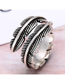 Personality Silver Color Leaf Shape Decorated Simple Opening Ring
