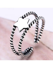 Personality Silver Color Star Decorated Double Layer Opening Ring