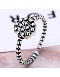 Personality Silver Color Round Shape Decorated Opening Ring