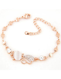 Lovely Gold Color Cat Shape Decorated Simple Chain Bracelet