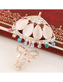 Delicate Gold Color Bowknot Decorated Umbrella Shape Brooch
