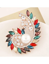 Delicate Multi-color Waterdrop Shape Diamond &pearl Decorated Spiral Brooch