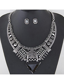 Exaggerated Gray Traingle Pendant Decorated Hollow Out Geometric Shape Jewelry Sets