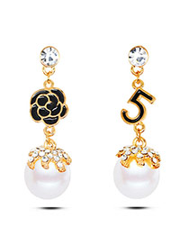 Fashion Gold Color Flower&letter 5 Decorated Simple Asymmetric Earrings