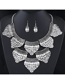 Exaggerated Silver Color Fish Scales Decorated Short Chain Jewerly Sets