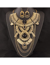 Exaggerated Gold Color Geometric Shape Decorated Collar Jewelry Sets