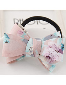 Sweet Pink Flower Pattern Bowknot Decorated Simple Hair Band