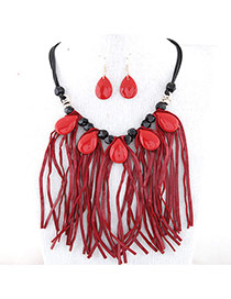Temperament Red Waterdrop Shape Gemstone Decorated Tassel Necklace