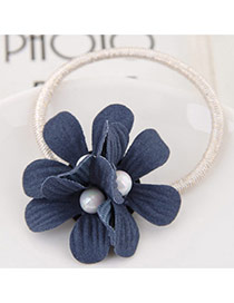 Sweet Dark Blue Three Flower&pearl Decorated Simple Hair Band