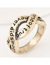 Vintage Antique Gold Letter Pattern Decorated Cross Simple Ring