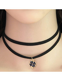 Temperament Black Clover Pendant Decorated Double Layer Necklace