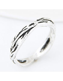 Vintage Silver Color Pure Color Decorated Hollow Out Cross Simple Ring