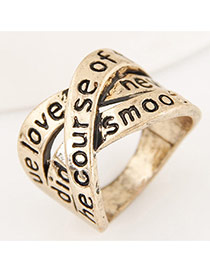 Vintage Gold Color Letter Decorated Multi-layer Cross Simple Ring