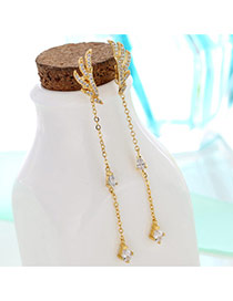 Sweet Gold Color Long Tassel Pendant Decorated Wings Shape Simple Earrings