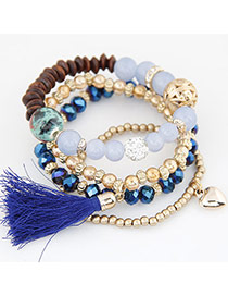 Trendy Sapphire Blue Hear Shape&tassel Pendant Decorated Multi-layer Simple Bracelet