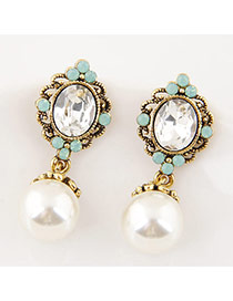 Fashion Blue Oval Shape Gemstone Decorated Pearl Pendant Simple Earrings