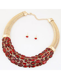 Fashion Red Geometric Gemstone Decorated Hollow Out Short Chain Jewelry Sets
