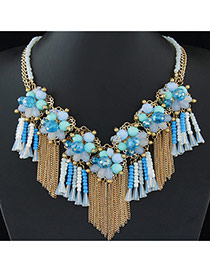 Trendy Blue+green Tassel&flower Decorated Multi-layer Short Chain Necklace