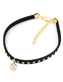 Personality Black Flower Pendant Decorated Rivet Woman Anklet