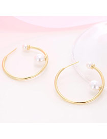 Personality Gold Color Pearl Pendant Decorated Circle Simple Earrings