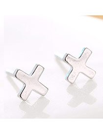 Lovely Silver Color Cross Decorated Pure Color Earrings