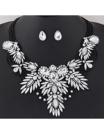 Luxury Black+white Geometric Shape Diamond Decorated Double Layer Jewelry Sets