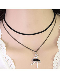 Temperament Black Ballet Girl Pendant Decorated Double Layer Necklace