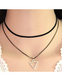 Temperament Black Triangle Pendant Decorated Double Layer Necklace