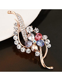 Sweet Multi-color Diamond Flower Shape Decorated Geometric Brooch