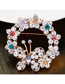 Sweet Multi-color Hollow Out Butterfly Shape Decorated Simpe Brooch