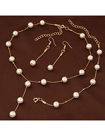 Sweet Gold Color Pearl Decorated Simple Design Jewelry Sets