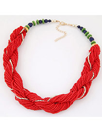 Bohemia Red Beads Twist Decorated Simple Short Necklace