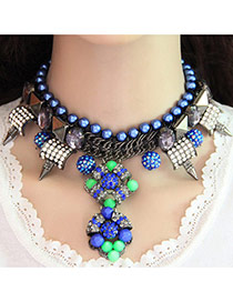Fashion Green+purple Gemstone&pearls Decorated Geometric Shape Double Layer Necklace