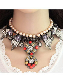 Fashion Orange+yellow Gemstone&pearls Decorated Geometric Shape Double Layer Necklace