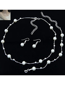 Sweet Silver Color Pearl&bead Decorated Short Chain Simple Jewelry Sets