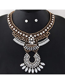 Exaggerated White Oval Shape Gemstone Decorated Multi-layer Collar Jewelry Sets
