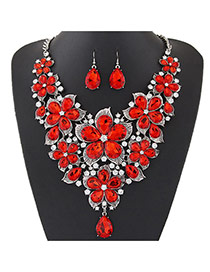 Fashion Silver Color Water Drop Shape Diamond Decorated Flower Shape Jewelry Sets