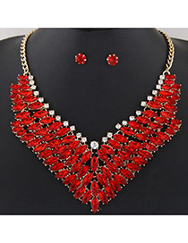Fashion Red Oval Shape Diamond Decorated Multi-layer V Shape Jewelry Sets