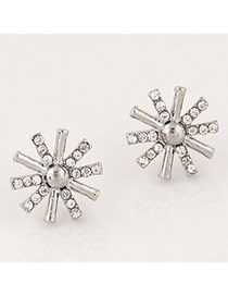 Sweet Silver Color Diamond Decorated Sunflower Shape Earrings