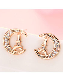 Sweet Rose Gold Iron Tower&diamond Decorated Moon Shape Earrings