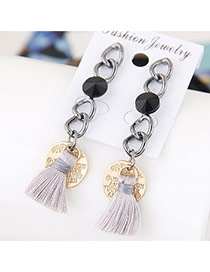 Fashion Gold Color+gray Tassel&round Shape Pendant Decorated Metal Chain Earrings