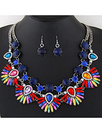 Bohemia Multi-color Diamond Decorated Fan Shape Short Chain Necklace
