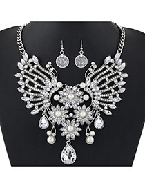 Exaggerate Silver Color Big Oval Diamond Decorated Hollow Out Short Chain Jewelry Sets