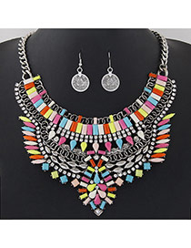 Fashion Multi-color Geometric Shape Gemstone Decorated Hollow Out Jewelry Sets