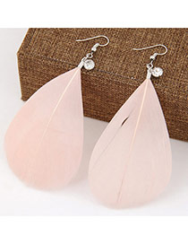 Elegant Pink Pure Color Feather Pendant Decorated Simple Earring