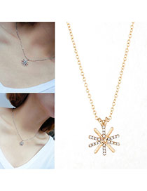 Elegant Silver Color+gold Color Sunflower Shape Pendant Decorated Simple Necklace