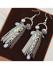 Elegant Multi-color Beads&tassel Pendant Decorated Simple Earring